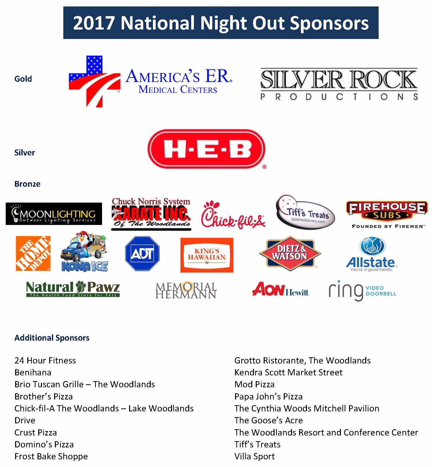 2017 National Night Out Sponsors